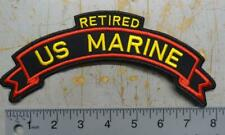 "8"" US MARINE RETIRED TAB / SCROLL PATCH FOR BACK OF JACKET #USP3113"