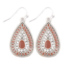 Women Bohemian Boho Crystals Gem Colorful Waterdrop Silver Pld Hook Earrings