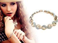 Olivia Cascade Olive-shape Crystal Paved Polished Bracelet Gold or Silver or Mix