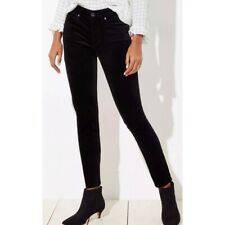 Ann Taylor LOFT Black Velvet Modern Skinny Slim Fit Pants Size 4 Women's stretch