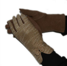 GLOVES GLOVE GLOVES WOMAN PADDED HOT WOOL UPHOLSTERED BEIGE WHITE 566