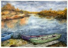 Autumn. Boats original watercolor landscape painting tree lake village nature