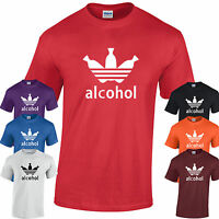 ALCOHOL T-Shirt Mens Funny Drinking Top Beer Ale Pub Tee Alcoholic