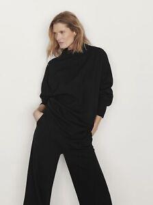 Massimo Dutti New Black Wool Funnel Neck Sweater Small