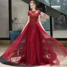 Rhinestones Red / silver Long Prom Dress Wedding  Pageant Gown with Over skirt