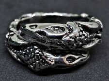 Viking Odin's Ravens Ring Norse Crow Men Ring Silver Gothic Adjustable Handmade