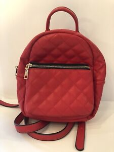 """NWOT Red """"Leather"""" Small Quilted Backpack Purse Handbag"""