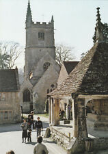 Vintage POSTCARD - ST. ANDREWS CHURCH AND MARKET CROSS, CASTLE COMBE, WILTSHIRE
