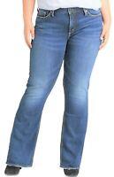 Silver Women's Suki Jeans Slim Bootcut Mid Rise Stretch Denim Plus 22 X 32 Blue