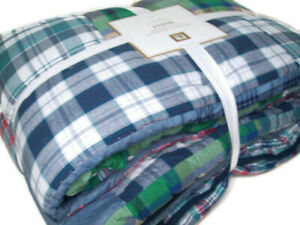 Pottery Barn Teen Multi Colors Havana Madras Plaid Patchwork Twin Quilt New