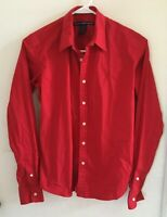 Ralph Lauren Sport Button Down Blouse Red Women's Size 6 Slim Fit Long Sleeves