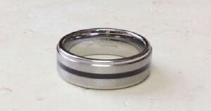 Tungsten Carbide Ring Wedding Black Stripe Size 9,10,11,12,13,14 (f55)