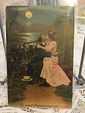 Antique postcard sweetheart Chromo lithograph Kissing full moon 1906 England