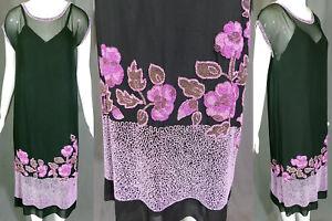 Vintage 1920s Art Deco Black Silk Purple Pink Beaded Floral Flapper Dress & Slip