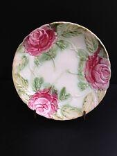 Assiette En Barbotine Marque Cors De Chasse, décor De Roses