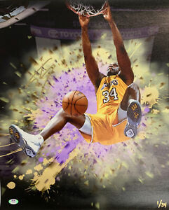 1/34 SHAQUILLE O'NEAL LAKERS MVP SIGNED 18X22 LE CANVAS DUNK PRINT PSA 9A24784