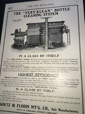 Bottle Cleaning Beer Ad 1908 Brewery Equipment Goetz & Flodin Chicago