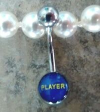 Player Logo Belly Button Ring  Ball 316L Stainless Steel 14 Guage