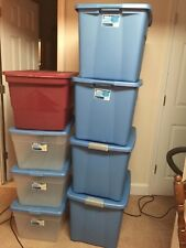 STORAGE PLASTIC TOTE BOX Organizer 8 Pack Large Bin Container With Lid.pre-owned