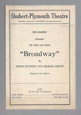 "George Abbott ""BROADWAY"" Helen Raymond / Robert W. Craig 1928 Boston Playbill"
