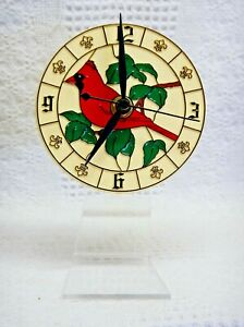 """Red Cardinal (4"""") Dial Desk Clock (Battery Operated)(Acrylic Stand)"""