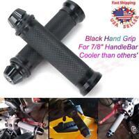 "Pair Motorcycle 7/8"" Universal Handle Bar Gel  CNC Aluminum Hand Grips Black US"