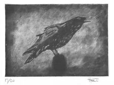 Hand pulled crow raven etching print with aquatint, silk mezzotint silk aquatint