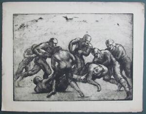 """1930's Aaron Berkman """" FOOTBALL TACKLE """" WPA NFL College Sports Etching N.Y."""