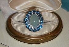 Ross Simons Sterling silver cabochon Blue chalcedony swiss topaz flower ring