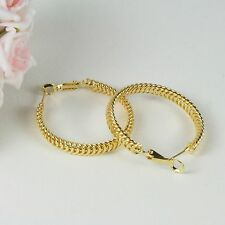 E17 18K Yellow Gold Filled 3 cm Hoop Creole Scale Design Earrings - Gift Pouch