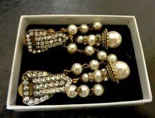 Antique 1920'S ART DECO STUNNING GILT GOLD  DIAMENTE /PEARL Earrings Vintage