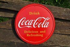 Drink Coca-Cola Button Tin Metal Sign - Coke - Delicious & Refreshing - Atlanta