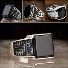 Men's 925 Silver,Gold Sapphire Gemstone Ring Punk Classic Luxury Jewelry Sz 6-13
