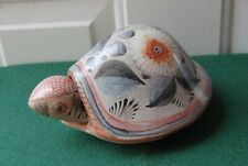 More details for mexico pottery tortoise ornament - handmade artist signed - natural brown floral