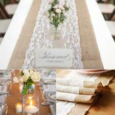 Hessian Lace Table Runners Runner Burlap Vintage Jute Wedding Party 30 X 108cm