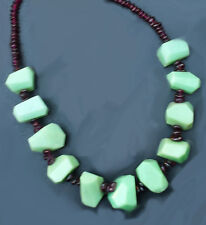 American made handcrafted chrysophase and garnet nugget necklace