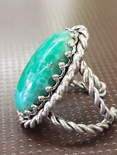Vintage greenstone woman's ring. Made in Japan adjustable size 7/8.  Free ship