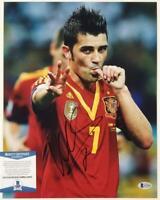 David Villa signed 11x14 Photo Autograph Spain (B) ~ Beckett BAS COA