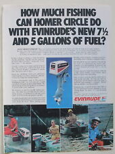 Evinrude 7.5hp Fishing Outboard  Magazine 1980 Print Ad  8 x 11