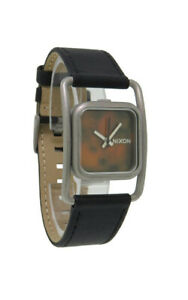 Nixon A239 636 Dynasty Leather Women's Square Faux Tortoise Shell Analog Watch