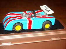 Tyco McLaren Lola 260 Hp-440 Wide Pan Chassis 1973 slot car- blue/red/white flag