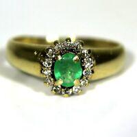Pretty Emerald & 0.15ct Diamond Cluster 9ct Yellow Gold ring size L ~ 5 3/4