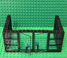Lego Black 3 Panes Frame 1x4x6 With Trans-light Blue Glass X6 And With Door X2