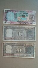 India 10 Ten Rupees Banknote note Lot of 3