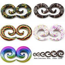 Spiral Acrylic Ear Taper Stretchers Expander Snail Earrings flesh Tunnel Design