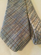"""Don Loper Beverly Hills Neck Tie Poly 3"""" Wide Blue Brown Watercolor Look VTG"""
