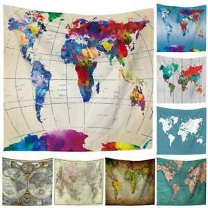 Magical World Map Tapestry Wall Hanging Mandala Bedspread Throw Art Home Decor