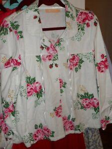 womans cozy all cotton flannel bedjacket sz large , excellent buy
