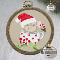 Christmas Mouse in cup Embroidery Cross stitch PDF Pattern - 106