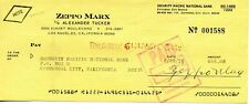 Zeppo Marx Hand Signed Autograph Check 1978    The Marx Brothers